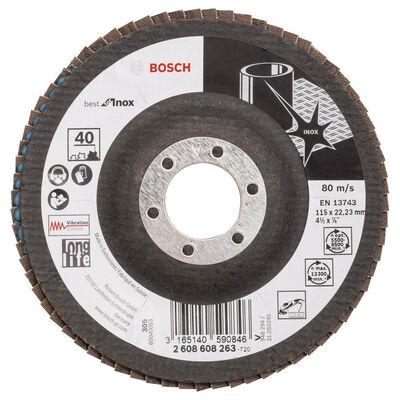 Bosch 115 mm 40 Kum Best Serisi Inox Flap Disk