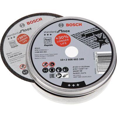 Bosch 115*1,0mm Standard Seri Düz Inox (Paslanmaz Çelik) Kesme Diski (Taş) - Rapido 10'lu