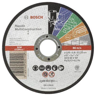 Bosch 125*1,6 mm Çoklu Malzemelerde Kullanım İçin Düz Kesme Diski (Taş)