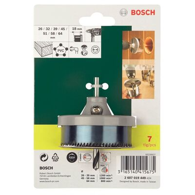 Bosch 7 Parça Delik Açma Testeresi Seti (18 mm) BOSCH