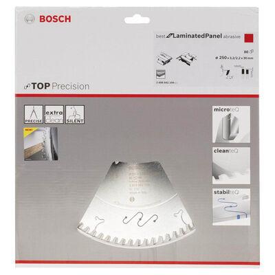 Bosch Best Serisi Hassas Kesim Aşındırıcı Kaplamalı Lamine Panel için Daire Testere Bıçağı 250*30 mm 80 Diş BOSCH