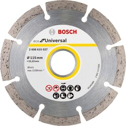 Bosch Ekonomik Seri 9+1 Genel Yapı Malzemeleri İçin Elmas Kesme Diski 115 mm - Thumbnail