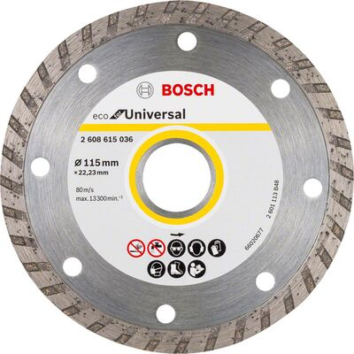 Bosch Ekonomik Seri 9+1 Genel Yapı Malzemeleri İçin Elmas Kesme Diski 115 mm Turbo