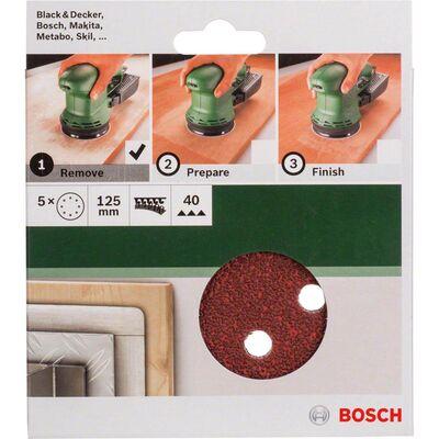 Bosch Eksantirik Zımpara Kağıdı 5'li, 125 mm 40 Kum 8 Delik BOSCH