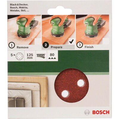 Bosch Eksantirik Zımpara Kağıdı 5'li, 125 mm 80 Kum 8 Delik BOSCH