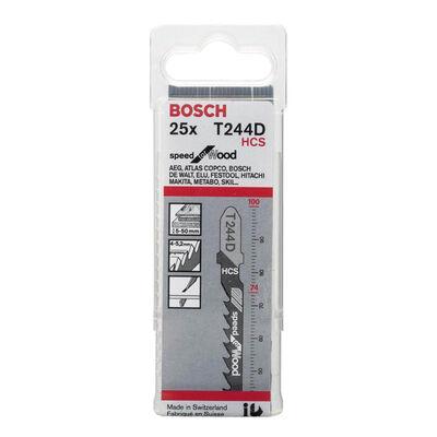 Bosch Hızlı Kesim Serisi Ahşap İçin T 244 D Dekupaj Testeresi Bıçağı - 25'Li Paket BOSCH