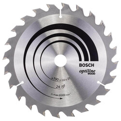 Bosch Optiline Serisi Ahşap için Daire Testere Bıçağı 190*20/16 mm 24 Diş - Thumbnail