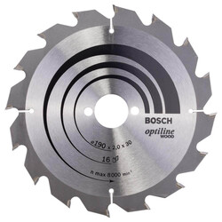 Bosch Optiline Serisi Ahşap için Daire Testere Bıçağı 190*30 mm 16 Diş - Thumbnail