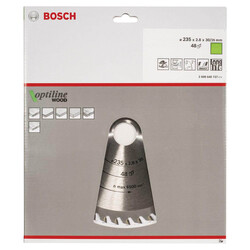 Bosch Optiline Serisi Ahşap için Daire Testere Bıçağı 235*30/25 48 Diş - Thumbnail