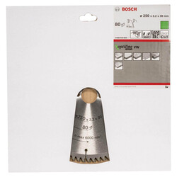 Bosch Optiline Serisi Ahşap için Daire Testere Bıçağı 250*30 mm 80 Diş - Thumbnail