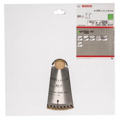 Bosch Optiline Serisi Ahşap için Daire Testere Bıçağı 250*30 mm 80 Diş BOSCH