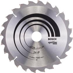 Bosch Optiline Serisi Ahşap için Daire Testere Bıçağı B 216x30 mm-24 Diş - Thumbnail