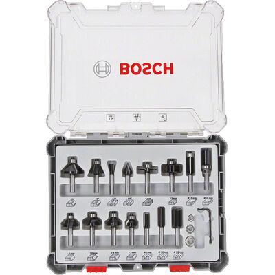 Bosch Profesyonel 15 Parça Karışık Freze Ucu Seti 8 mm Şaftlı