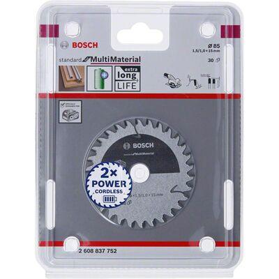 Bosch Standard for Serisi Çoklu Malzeme için Akülü Daire Testere Bıçağı 85*15 mm 30 Diş BOSCH
