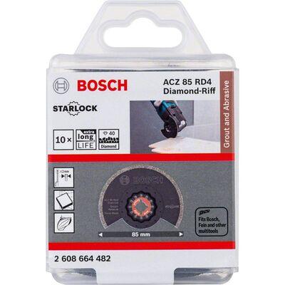 Bosch Starlock - ACZ 85 RD4 - Diamant RIFF Zımpara Uçlu Segman Testere Bıçağı 40 Kum Kalınlığı 10'lu BOSCH