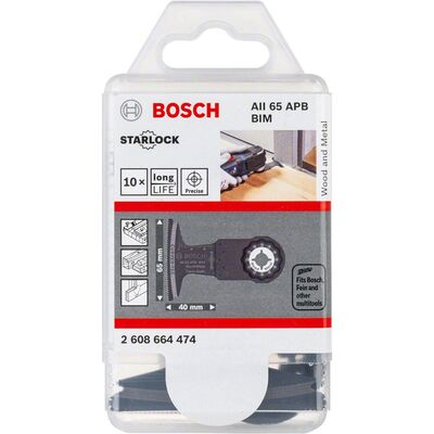 Bosch Starlock - AII 65 APB - BIM Ahşap ve Metal İçin Daldırmalı Testere Bıçağı 10'lu BOSCH