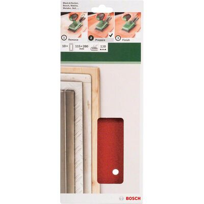 Bosch Titreşimli Zımpara Kağıdı 10'lu, 115 x 280 mm 120 Kum 14 Delik BOSCH
