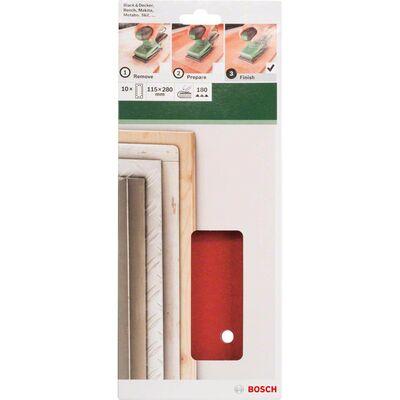 Bosch Titreşimli Zımpara Kağıdı 10'lu, 115 x 280 mm 180 Kum 14 Delik BOSCH