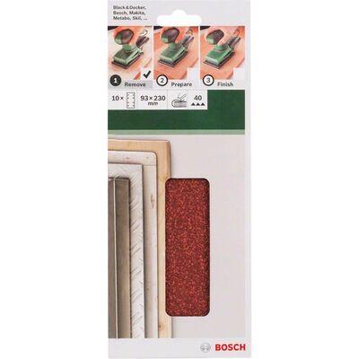 Bosch Titreşimli Zımpara Kağıdı 10'lu, 93 x 230 mm 40 Kum 8 Delik BOSCH