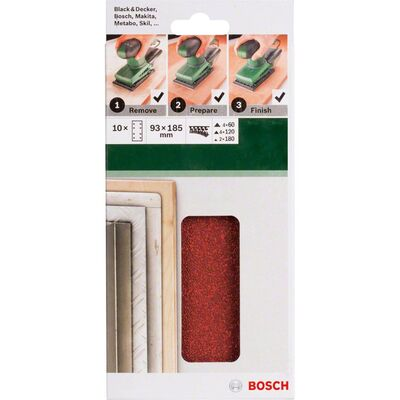 Bosch Titreşimli Zımpara Kağıdı 10'lu Set, 93 x 185 mm 60/120/180 Kum 8 Delik BOSCH