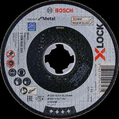 Bosch X-LOCK - 125*1,6 mm Expert Serisi Düz Metal Kesme Diski (Taş)
