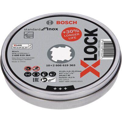 Bosch X-LOCK - 125*1,6 mm Standard Seri Düz Inox (Paslanmaz Çelik) Kesme Diski (Taş) 10'lu
