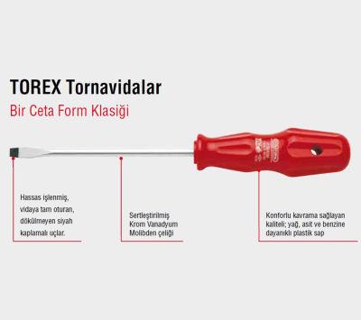Ceta Form 4100/43M Torex Düz Uçlu Tornavida 4X125Mm Ceta Form