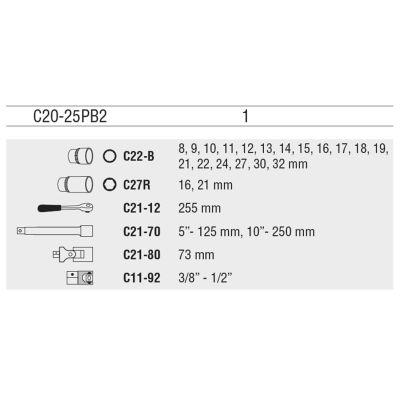 "Ceta Form C20-25Pb2 25 Parça 1/2"" 12 Köşe (Yıldız) Lokma Takımı Ceta Form"