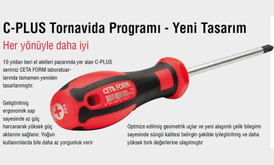 Ceta Form F10-035-100 C-Plus Düz Tornavida(Kabin Tipi) 3.5X100Mm Ceta Form