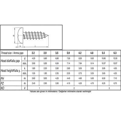 Çetin 4.8X13 Din 7981 A2 Paslanmaz Inox Ysb Saç Vidası 100 Adet Çetin