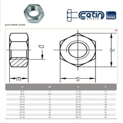 Civtec M22 Din 934 Altı Köşe Somun Çelik Beyaz 15 Adet - Thumbnail