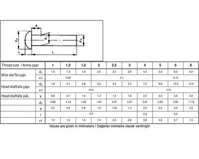 Civtec Din 660 16X100 Bombe Başlı (BB) Perçin Beyaz 1 Kg Civtec
