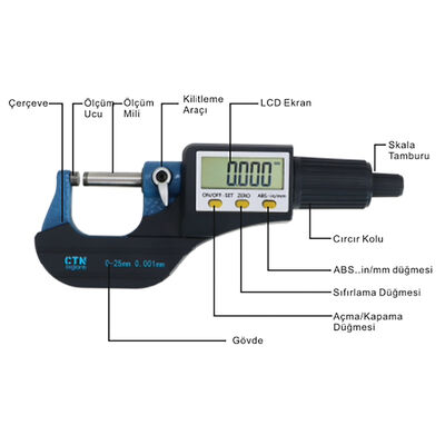 CTN 5202-25 Dijital Mikrometre Geniş Ekran (0-25mm Ölçme) Civtec