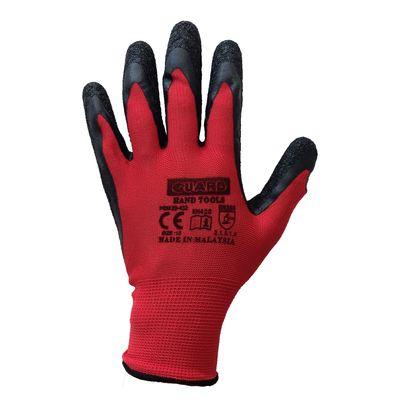 Guard Kırmızı Siyah Lateks Kaplı Polyester Örme İş Eldiveni No:10 Guard