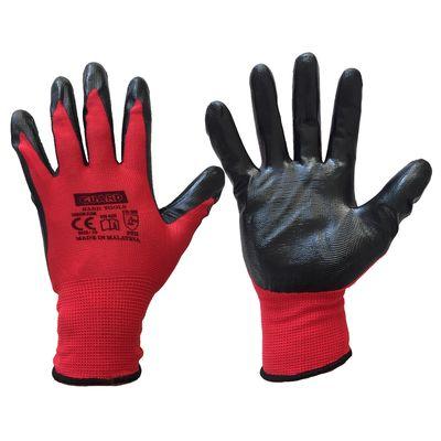 Guard Kırmızı Siyah Nitril Kaplı Polyester Örme İş Eldiveni N0:10