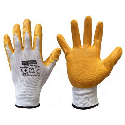 Guard Sarı Nitril Kaplı Beyaz Polyester Örme İş Eldiveni No:10