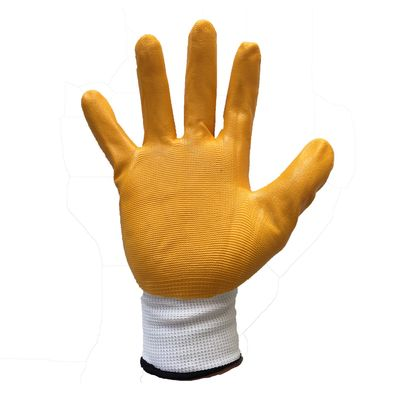 Guard Sarı Nitril Kaplı Beyaz Polyester Örme İş Eldiveni No:10 Guard